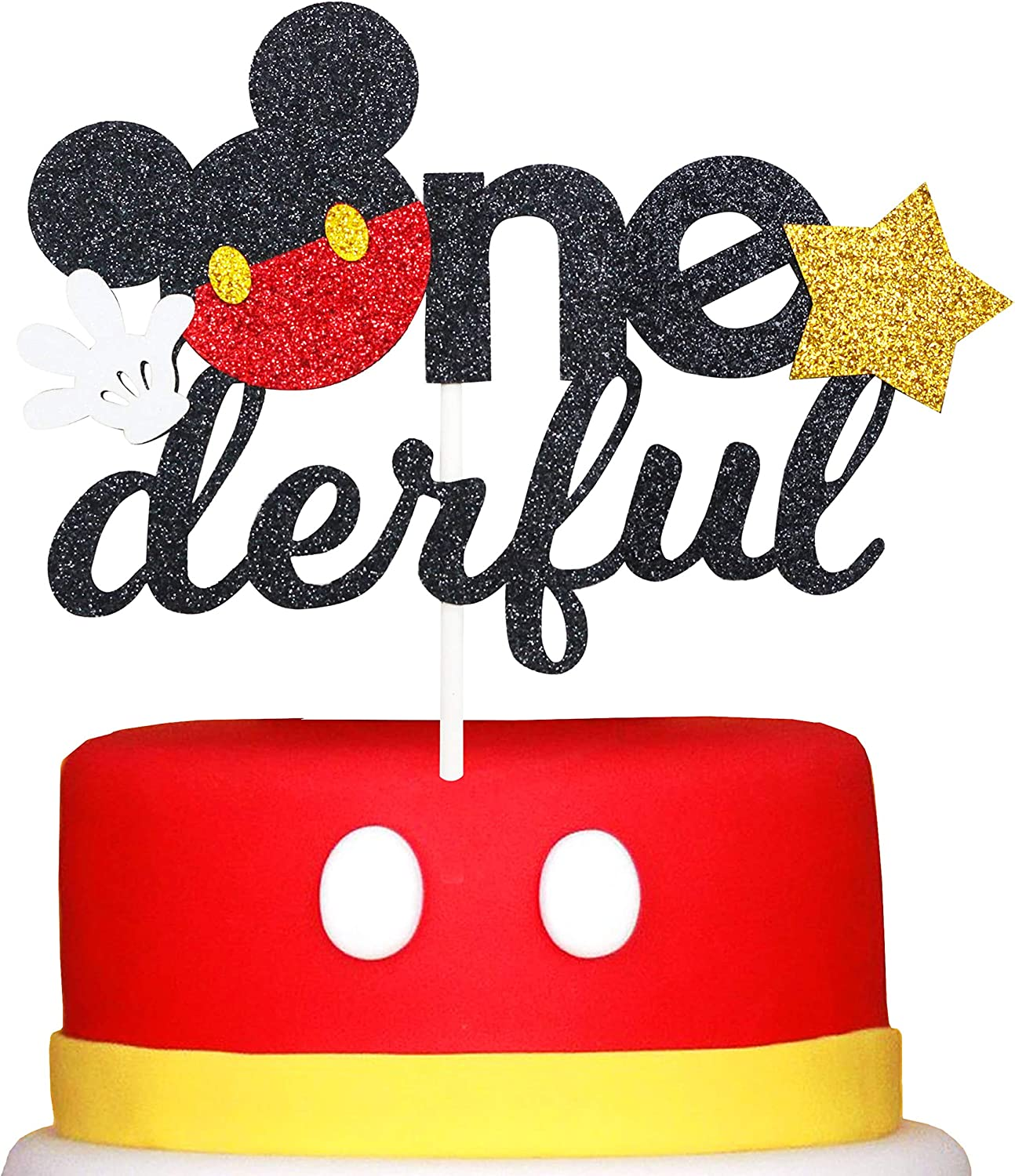 Glitter Mickey Inspired Onederful First Birthday Cake Topper- Mickey One Birthday Cake Topper Decor Boy Party Supplies