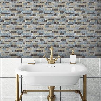 Roommates Sticktiles Blue Long Stone Peel And Stick Backsplash Tiles