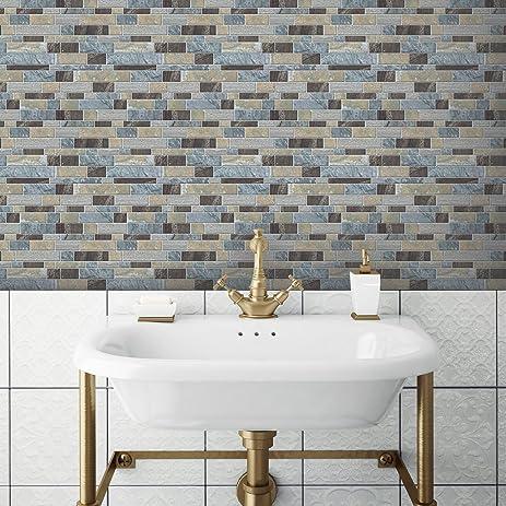 RoomMates TIL3234FLT Blue Long Stone Peel And Stick Tile Backsplash, 4 Pack  10.5u0026quot;