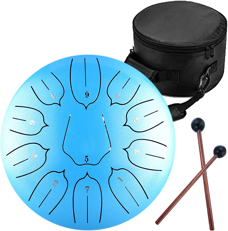"12/"" Steel Tongue Drum 11 Notes Handpan Hand Tankdrum Music Tank Drum Instrument"