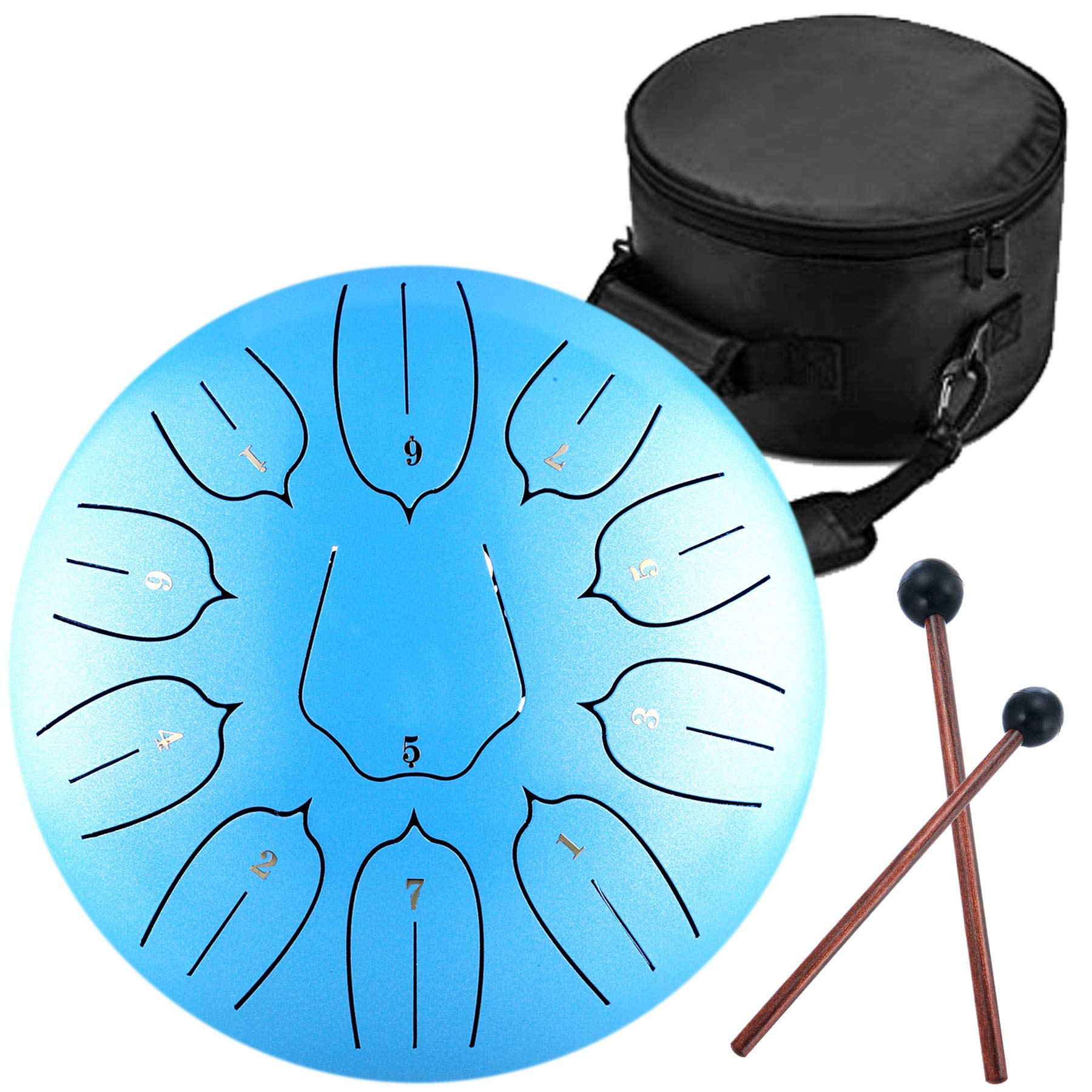 Lotus Handpan Tongue Drum 11 Notes 10 Inches Chakra Tank Drum Steel Percussion Hang Drum Instrument with Padded Travel Bag and Mallets Blue