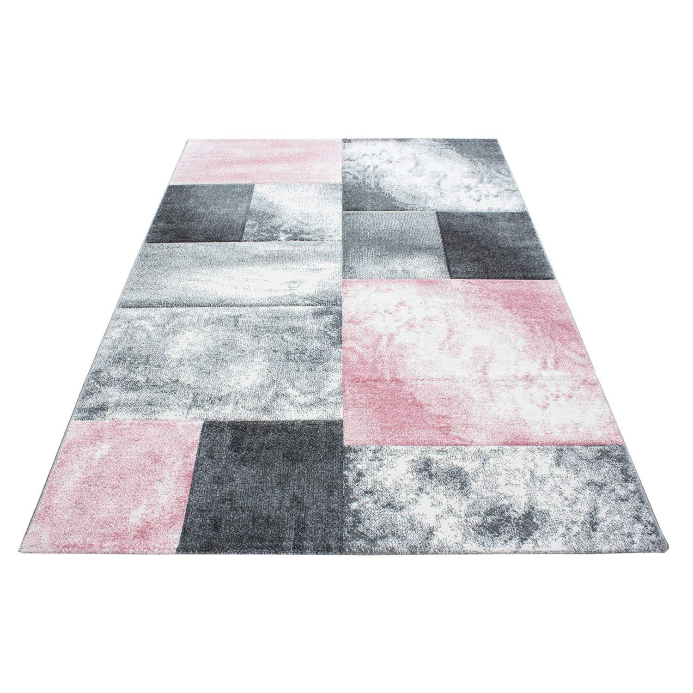 Teppiche modern Design Rechteckig Kurzflor Kariert Handcarving Meliert Pink, Maße 120x170 cm