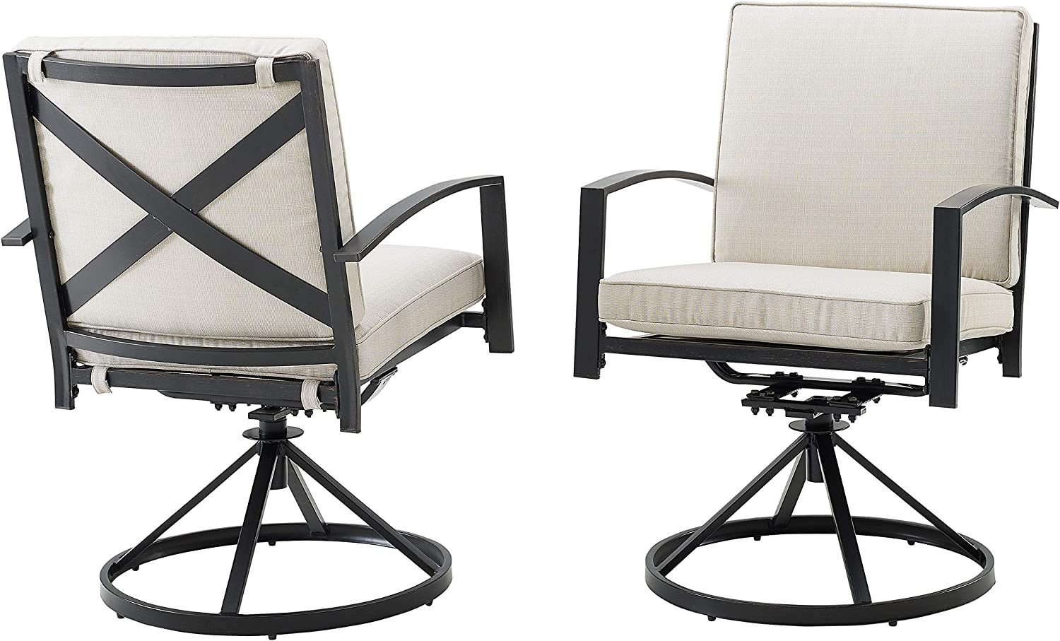 Crosley Furniture KO60026BZ-OL Kaplan Outdoor Metal Dining Swivel Chairs, Set of 2, Oiled Bronze with Oatmeal Cushions