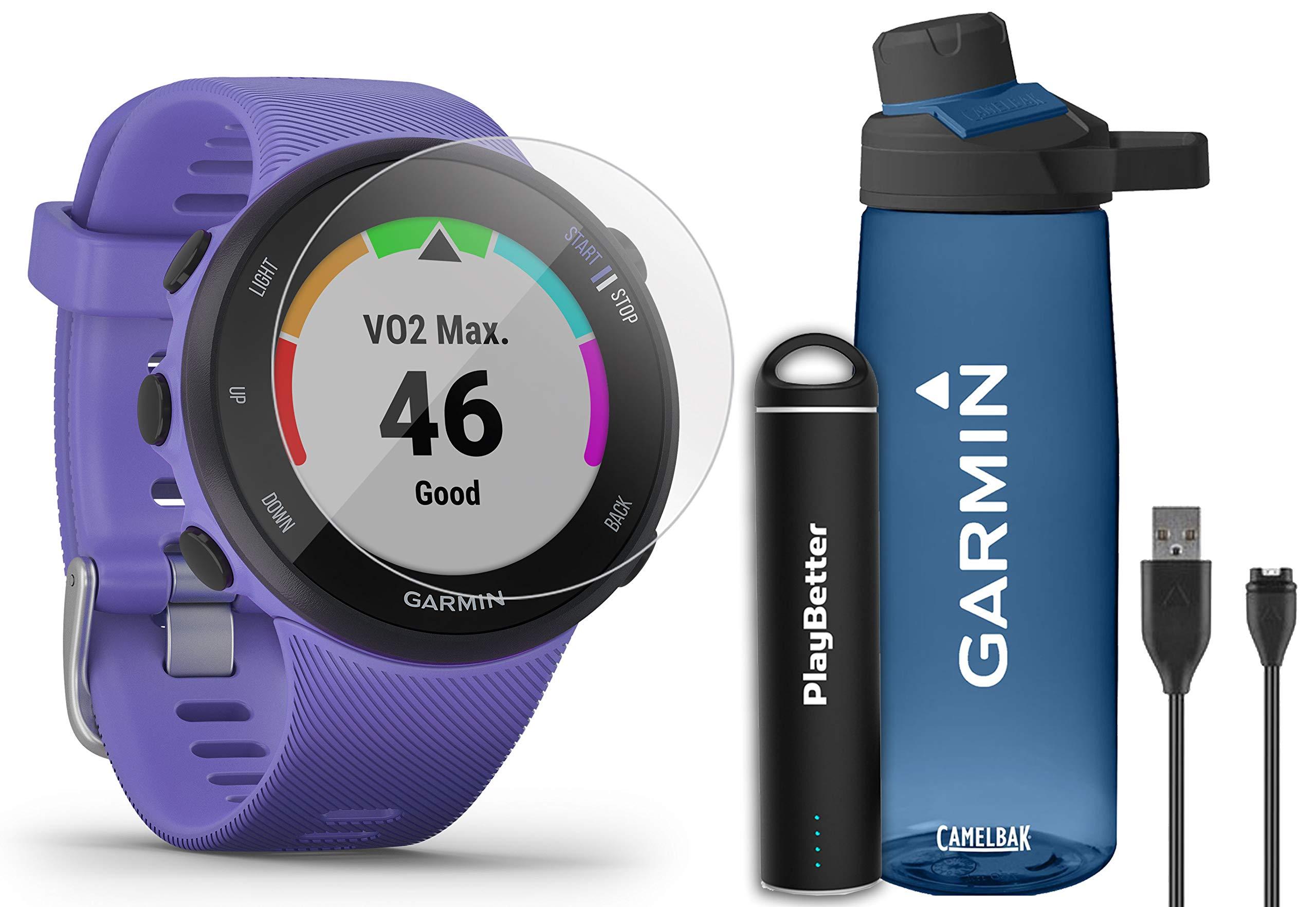 Garmin Forerunner 45S (Iris - Small) Running GPS Watch Runner Bundle | +Garmin Water Bottle, HD Screen Protectors & PlayBetter Portable Charger | Garmin Coach, HR, Body Battery, Smart Notifications by PlayBetter