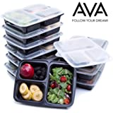 Food Containers 3 Compartment Premium: Leak Proof, Microwave, Dishwasher Freezer Safe, Bento Lunch Boxes - Durable Plastic Reusable Portion Control Meal Prep Containers