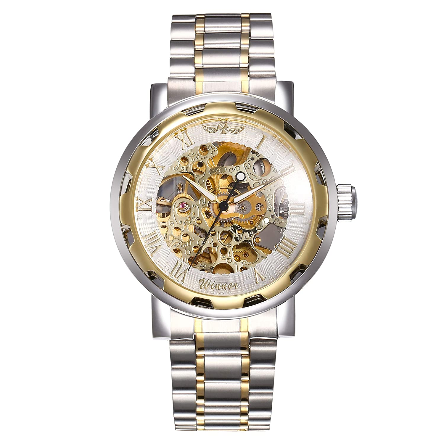 Winner Analogue Gold Dial Men's Watch -Mechanicalchainrosegoldwatch