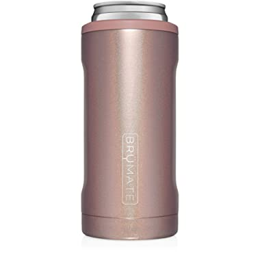 BrüMate Hopsulator Slim Double-walled Stainless Steel Insulated Can Cooler for 12 Oz Slim Cans (Rose Gold)