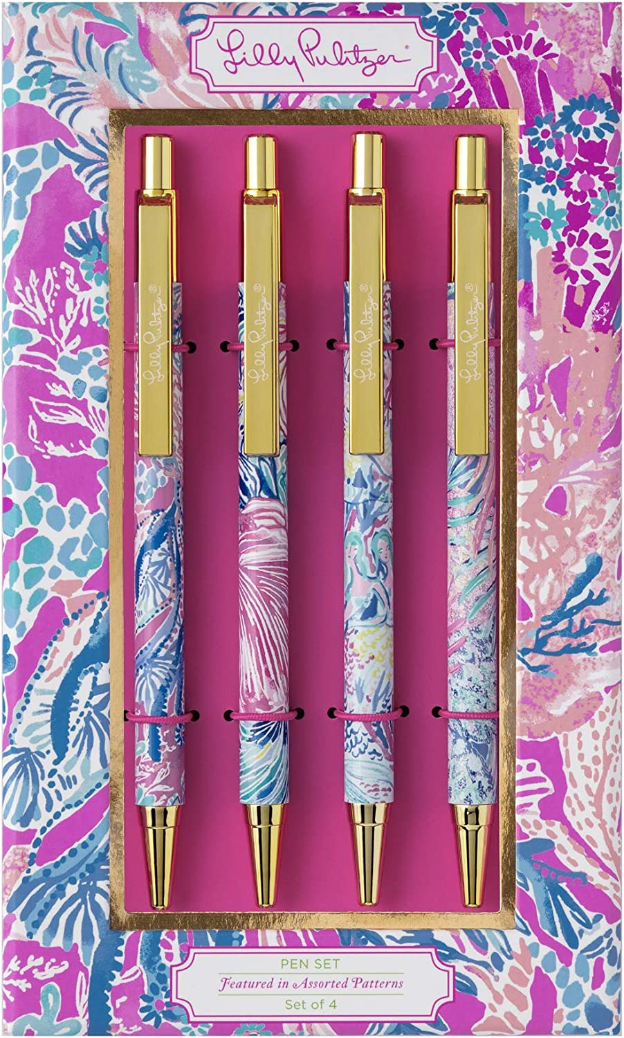 Lilly Pulitzer Women's Black Ink Colorful Click Pen Set (Aquadesiac)