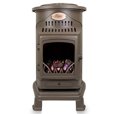 Provence - Calefactor de gas con efecto de estufa de madera, 3 kW, marrón