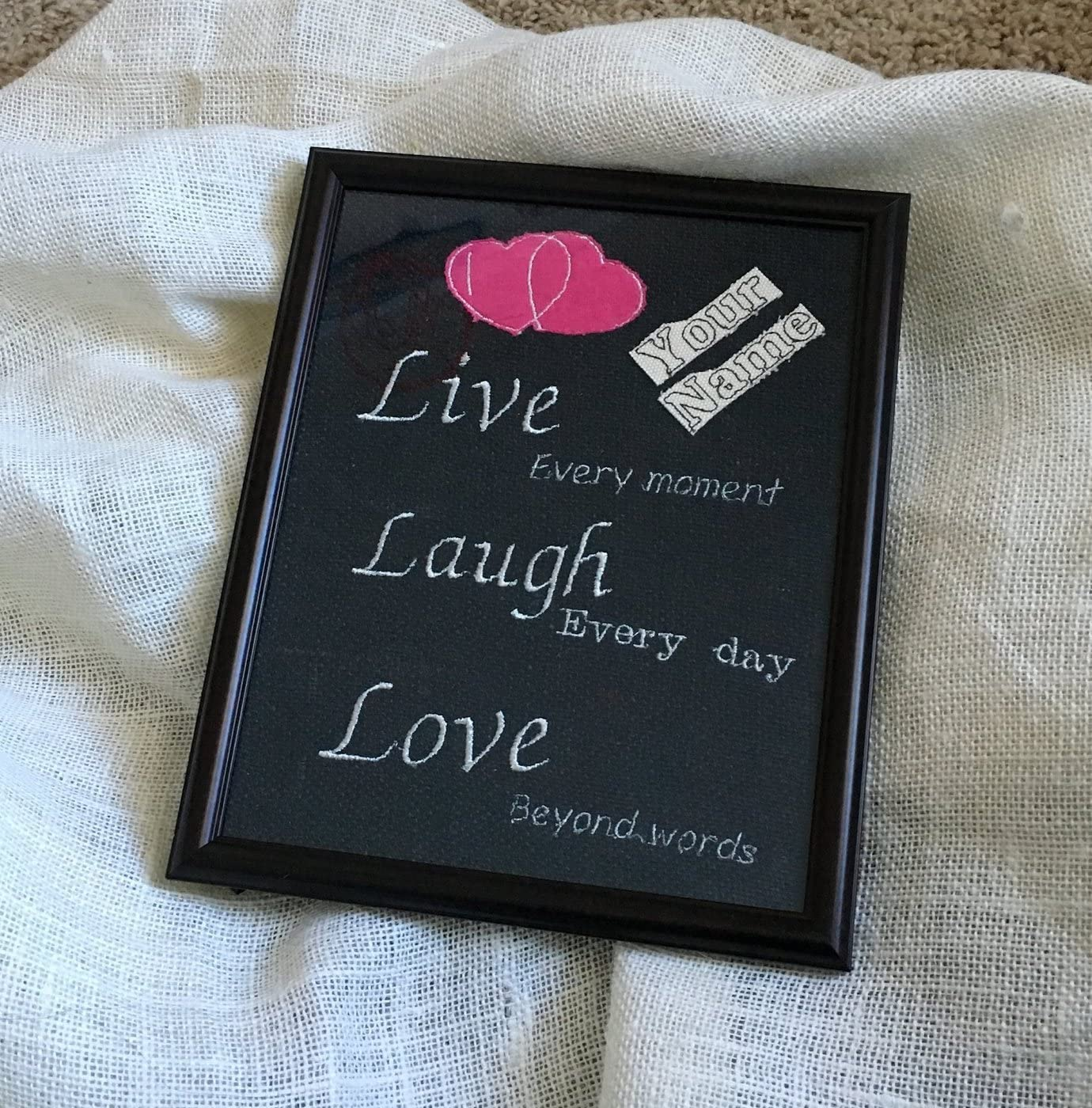 Amazon Com Love Quotes Burlap Custom Quotes Personalized Gifts For Husband Wife Anniversary Gifts Kitchen Dining