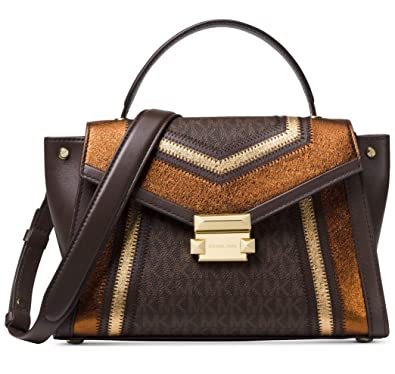 c76d3b1ea150 Amazon.com: MICHAEL Michael Kors Whitney Medium Metallic Signature  Top-Handle Satchel Bag, Brown Gold: Shoes