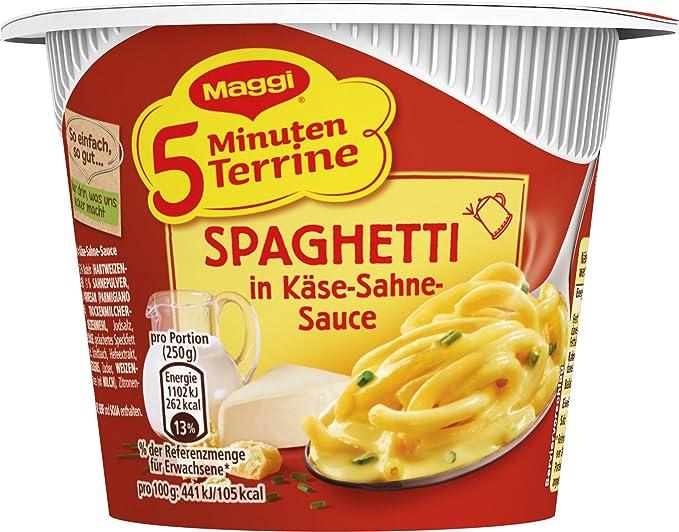 Maggi 5 minutos de sopera espaguetis en queso de nata (Pack de 8, 8