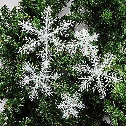 New_Soul 10 Paquetes Copo Nieve Navidad Decoración para Árbol De Navidad Colgantes Adornos Blanco11cm