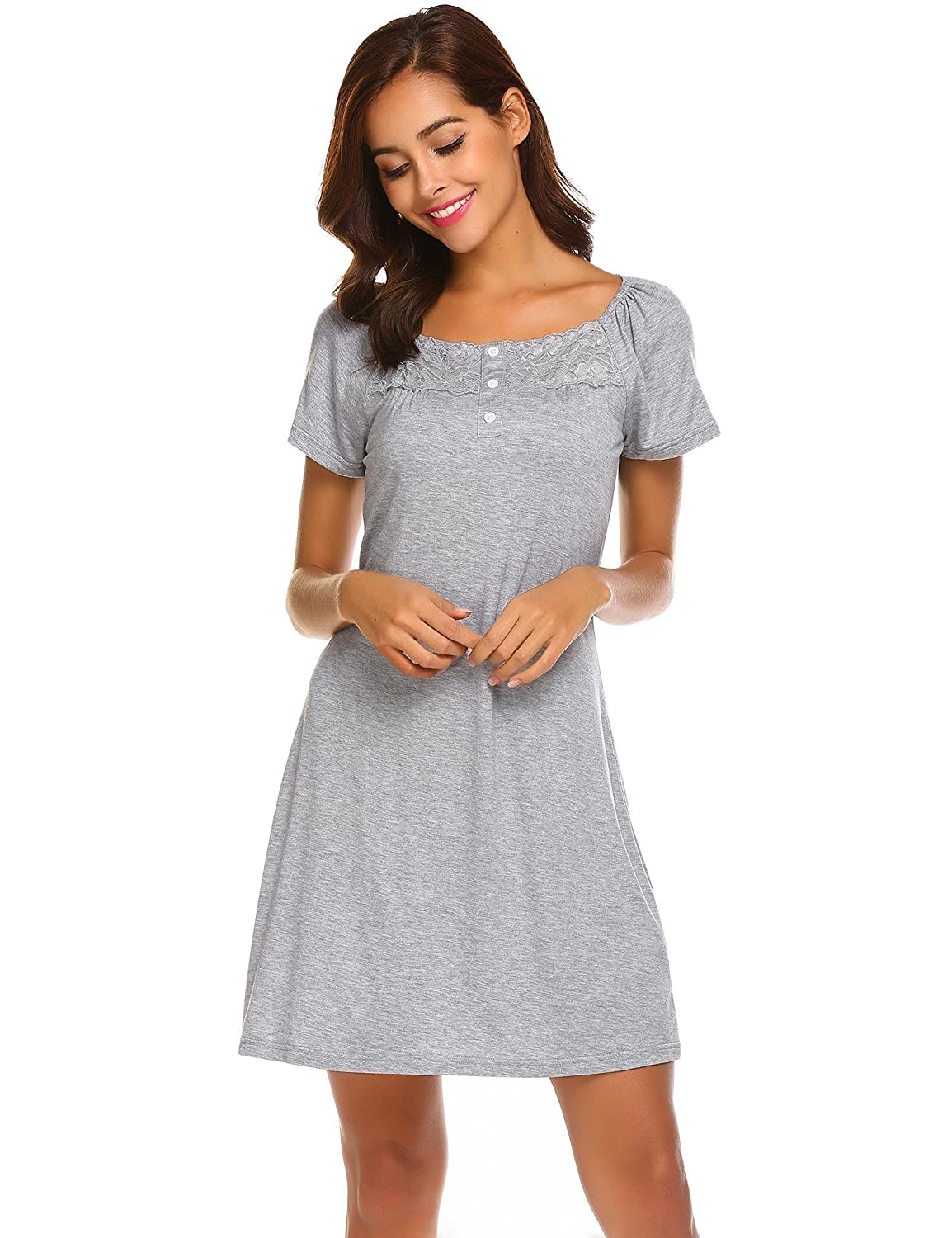 0d5cd00059 Keelied Women Ladies Summer Nightdress Short Sleeved Nighties Short  Nightshirt Loungewear Stretch Dress with Lace and Buttons Black Blue Grey   Amazon.co.uk  ...