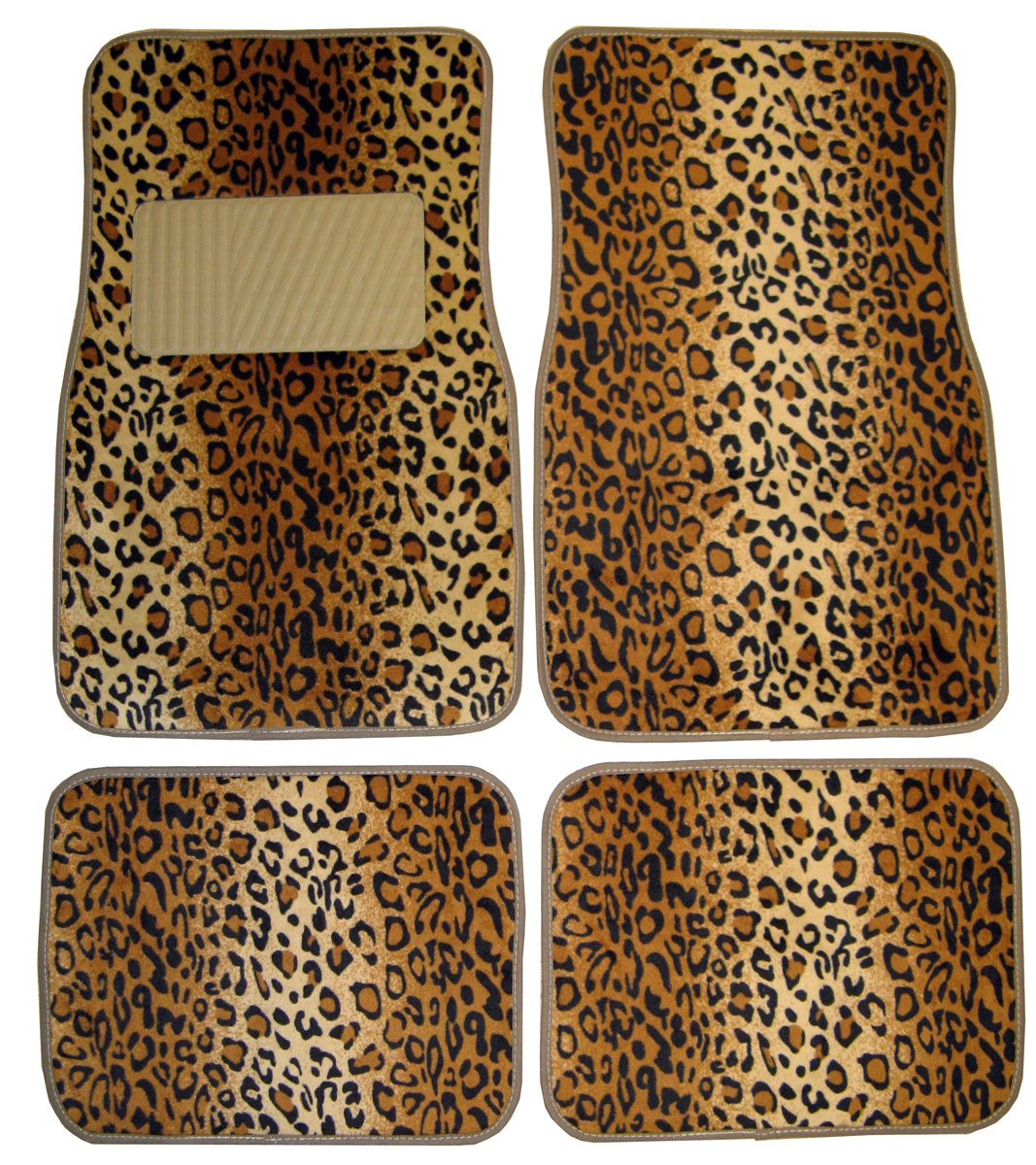 $8.99 (was $23.56) Plasticolor 001440R01 Universal-Fit Leopard Wild Skinz Front and Rear Floor Mat – Set of 4