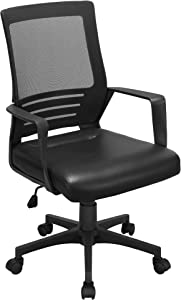 Topeakmart Mesh Office Desk Chair with Rolling Casters, Ergonomic Adjustable Task Chair with Leather Seat for Bain Pain Black