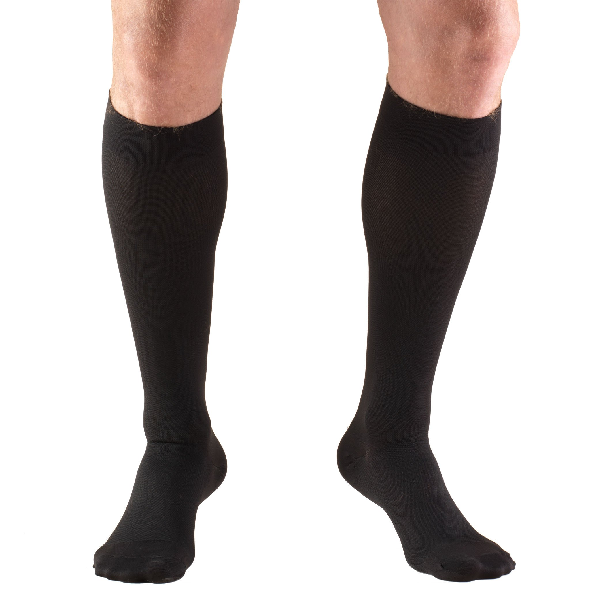 Truform 20-30 mmHg Compression Stockings for Men and Women, Knee High Length, Closed Toe, Black, Large