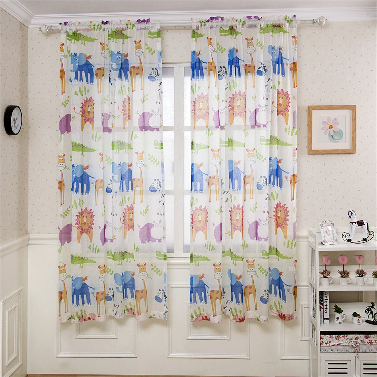 BGment Room Darkening Kids Curtains with Variety of Cute Animals Printed for Kid's Room 2 Panels, Grommets Top, (42x63 inch Each Panel, Beige) … Beige) … BGment Hometex