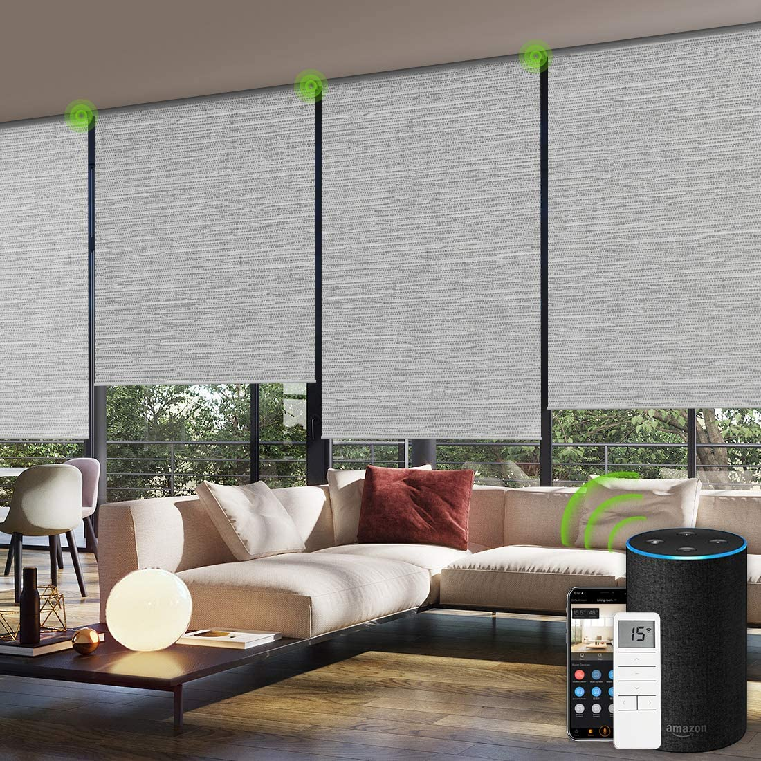 Yoolax Motorized Blinds Remote Control Auto Blinds Blackout Motorized Roller Shade with Valance Customized (Foggy Grey)