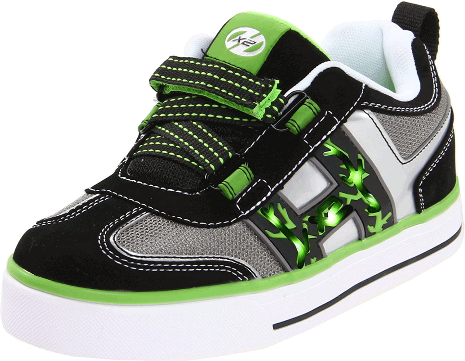 Heelys HX2 Bolt Lighted Skate Shoe (Little Kid/Big Kid) Black/White/Green/Silver 13 M US Little Kid HX2 Bolt - K