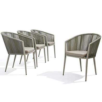 Amazon.com: Juego de 4 sillas de comedor modernas de ratán ...