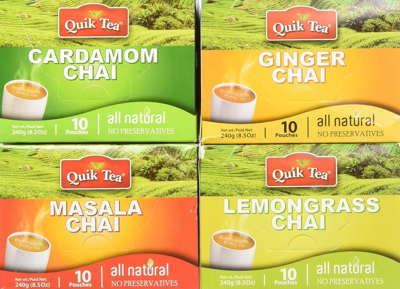 Quik Tea Chai Tea Latte 4 Flavor Variety Pack, Cardamom/Masala/Ginger/Lemongrass