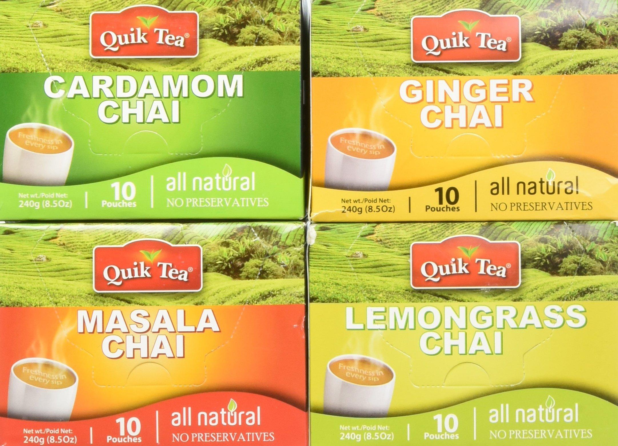 QuikTea Chai Tea Latte 4 Flavor Variety Pack, Cardamom/Masala/Ginger/Lemongrass, 960 Gram (Packaging May Vary)