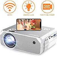 BOMAKER WiFi Video Projector, 4800 Lux Wireless Screen Mirroring Portable Projector, Full HD 1080p Home Movie Projector, Supports 300'' Display and HDMI USB VGA, for Android / iOS / Laptops / PCs