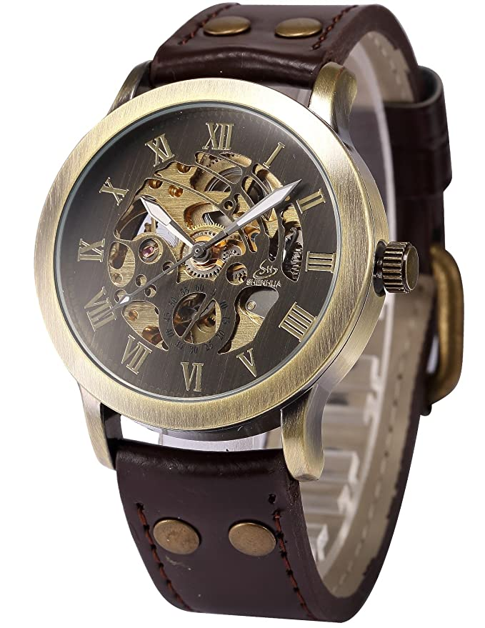 Men's Steampunk Goggles, Guns,  Accessories Mens Steampunk Bronze Skeleton Self-Winding Auto Mechanical Leather Wrist Watch PMW198 $17.99 AT vintagedancer.com