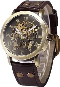 AMPM24 Steampunk Vintage Bronze Case Automatic Mechanical Skeleton Leather Band Men's Sport Watch