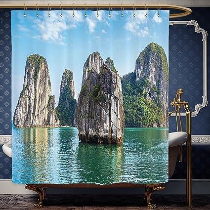 Wanranhome Custom Made Shower Curtain Scenery Decor Various Big Limestone Islands In Sea Asian East