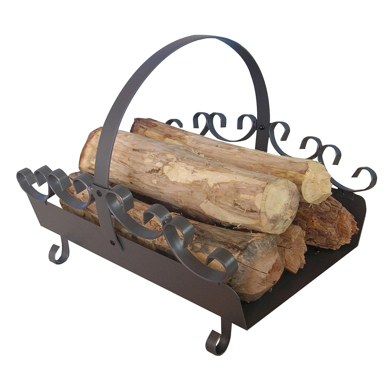 Holzlege aus Stahl in Gussgrau mit verzierung ca. 42 x 35 x 36 cm - ideal zur Holzaufbewahrung, zum Transportieren von Kaminholz - als Holzkorb-Ersatz Ribelli