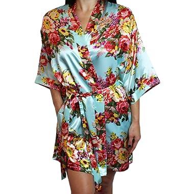 Ms Lovely Women's Floral Satin Kimono Short Bridesmaid Robe Pockets - Silky Touch