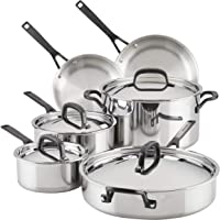 KitchenAid 5-Ply Clad Polished Stainless Steel Cookware Pots and Pans Set, 10 Piece