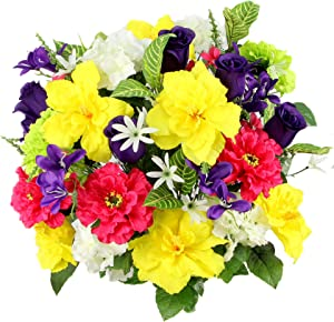 Admired By Nature Artificial Hibiscus with Rosebud, Freesias & Fillers Flower Mixed Bush for Home, Office, Restaurant & Wedding Arrangement, Yellow/Velvet/Violet/Cream, 36 Stems