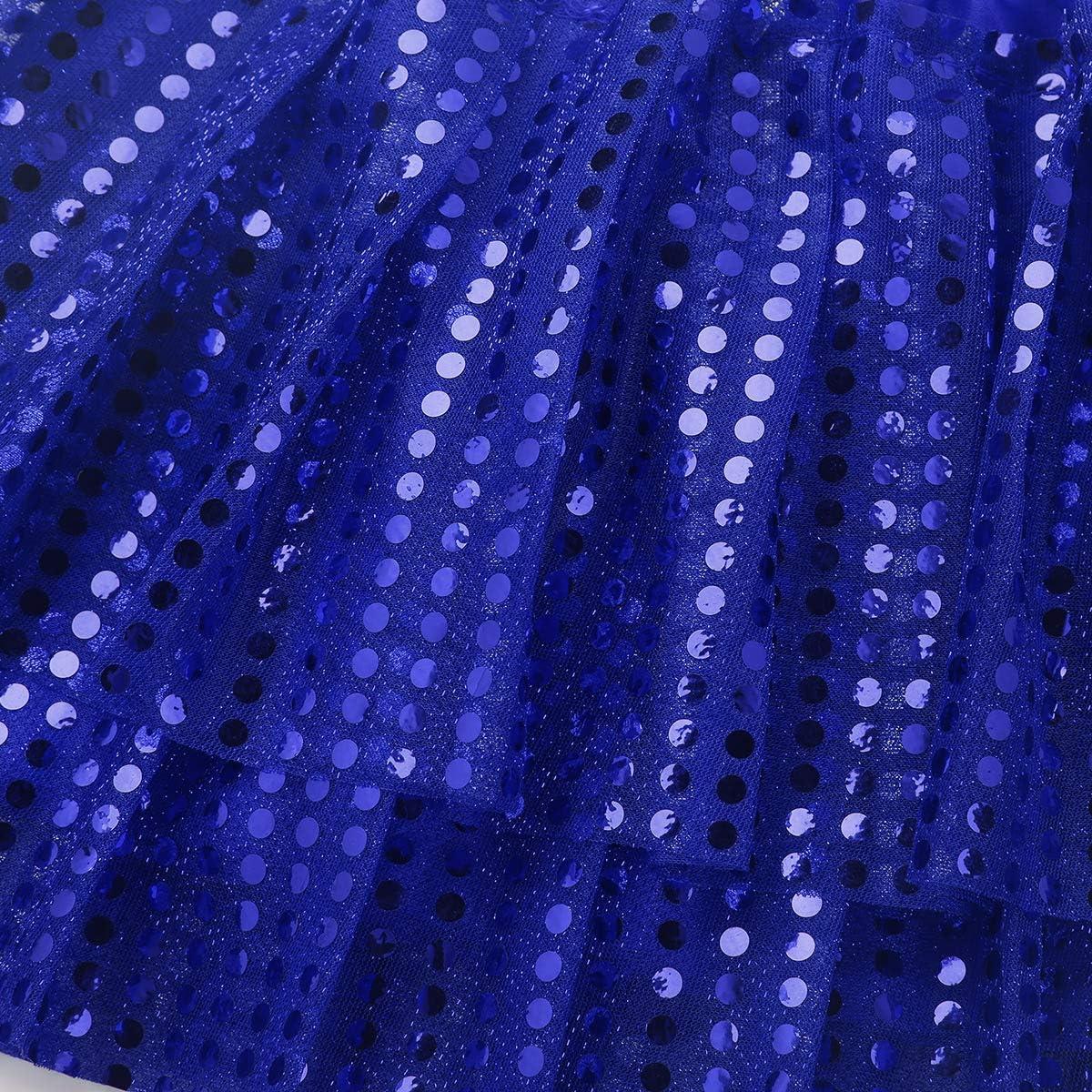 inlzdz Kids Girls Sparkly Sequins Ballet Tutu Mini Skirt Hip Pop Belly Jazz Modern Dance Performance Costume Dress up