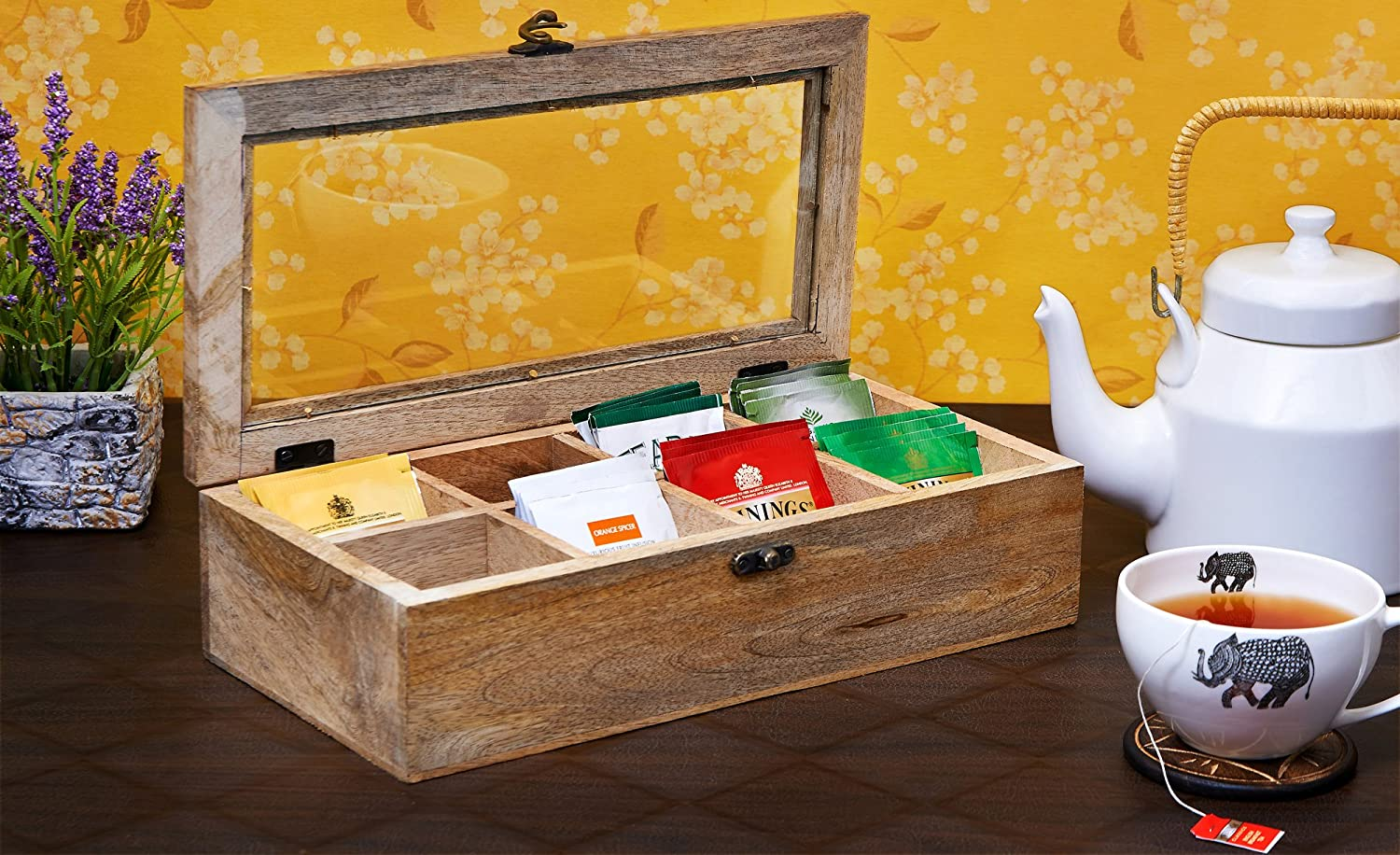 Wooden Tea Caddy Storage Chest Tea Box with Equally Divided Compartments - Rustic Finish Mango Wood Beautiful Gift on all Occasions (8 Compartments) Eximious India