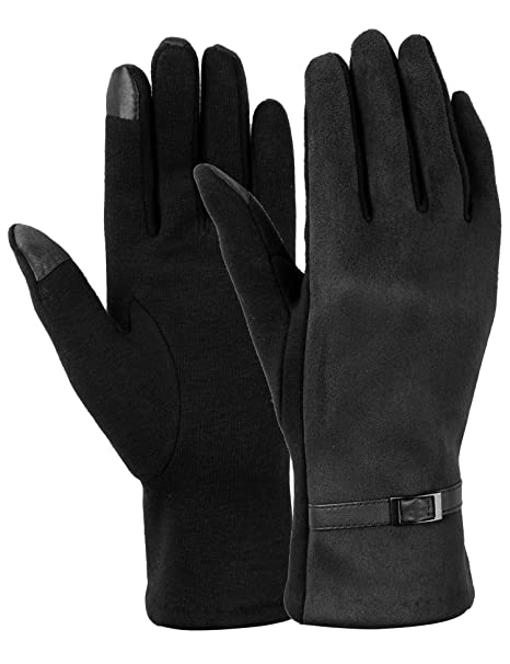 3716a68cf8e94 Women Winter Gloves Touch Screen Gloves for Phone Warm Thick Fleece Mittens  Black (black)