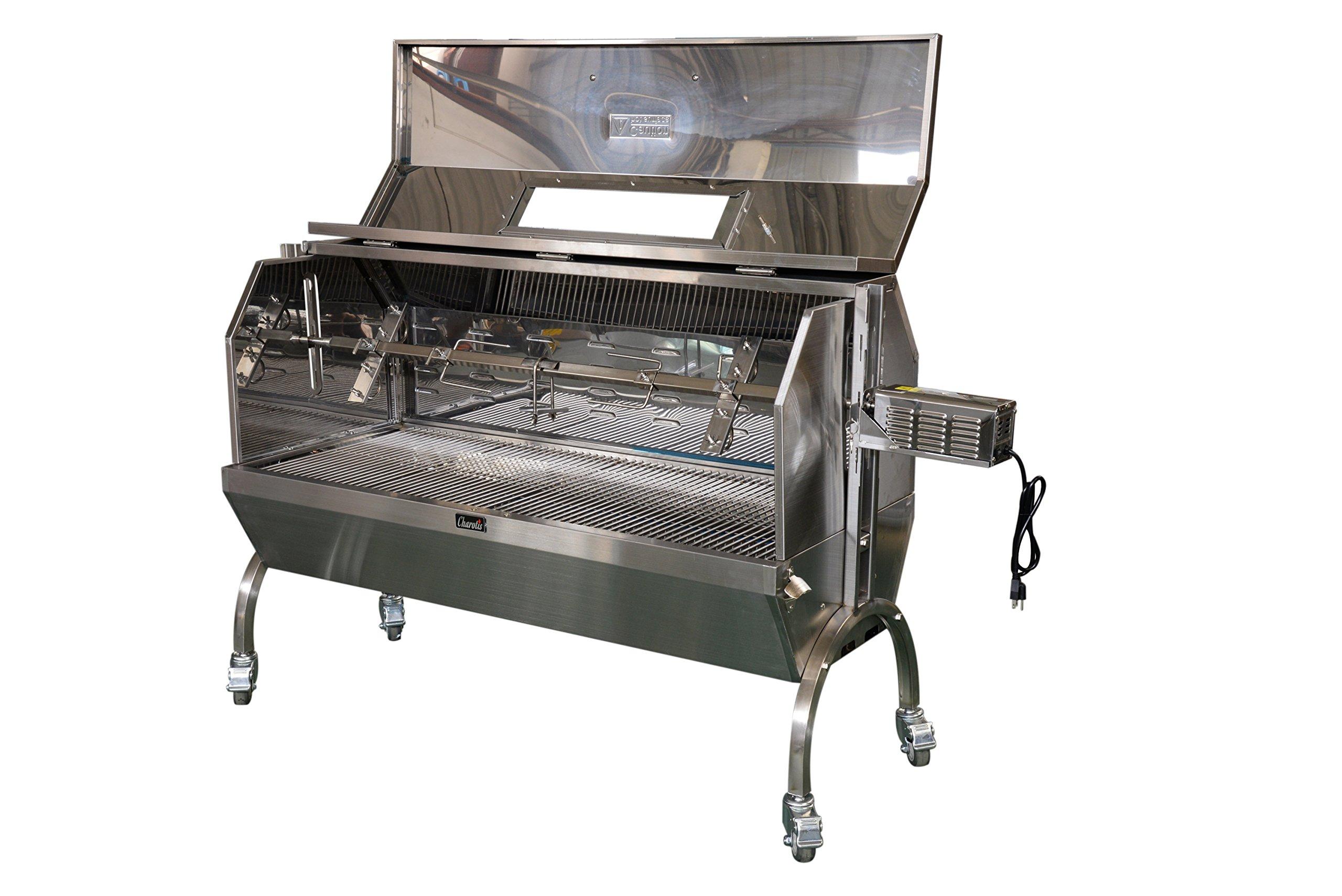 Charotis Charcoal Spit Roaster, 60W Motor, 100% Stainless Steel BBQ rotisserie for Whole Pig, Lamb, Goat - Model SSH1-DX