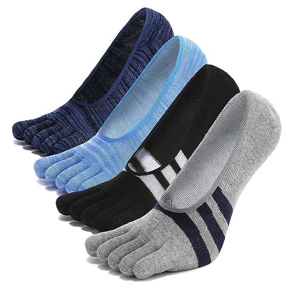 Calcetines con cinco 5 dedos hombre, calcetines antideslizantes Invisible, calcetines de deporte,separados