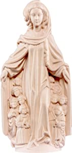 Ferrari & Arrighetti Virgin of Mercy Statue, Natural Wood, 20 cm / 7 ¾ in Tall Series, Gothic Madonnas - Demetz Deur