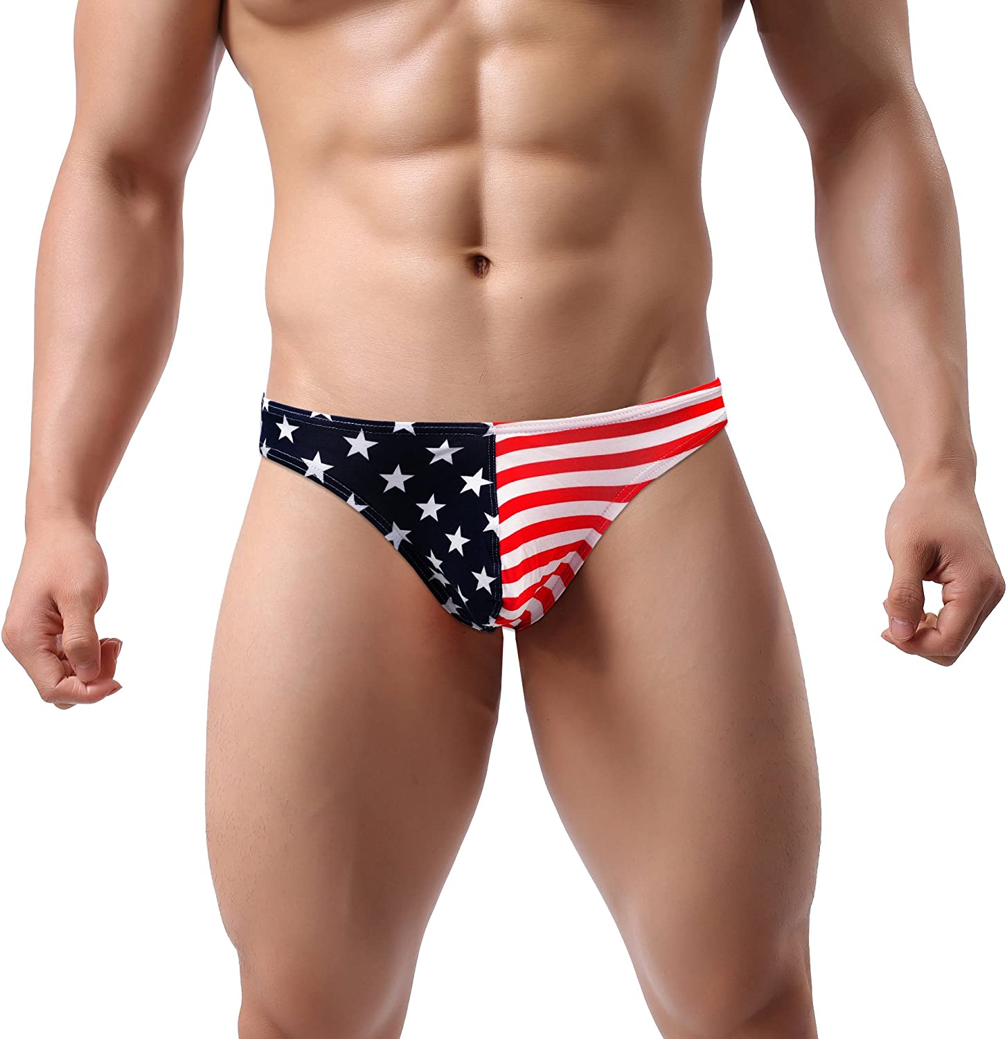 ONEFIT Mens Flag Underwear American Flag Printed Boxers and Thong G-String Briefs