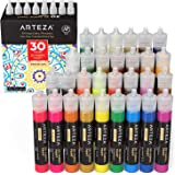 Arteza 3D Fabric Paint, Set of 30, Metallic & Glitter Colors, 1oz Tubes, Glow-in-The-Dark & Vibrant Shades, Textile Paint for