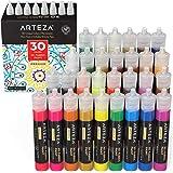 Arteza 3D Fabric Paint, Set of 30, Metallic & Glitter Colors, 1oz Tubes, Glow-in-The-Dark & Vibrant Shades, Textile…