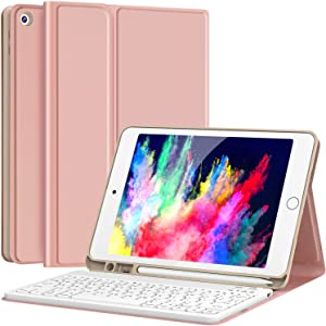 "Keyboard Case for iPad 8th Generation (2020)/7th Gen (2019) 10.2 Inch, Detachable Wireless with Pencil Holder Stand Folio Keyboard Cover for New iPad 8th Gen/7th Gen 10.2"", Rose Gold"