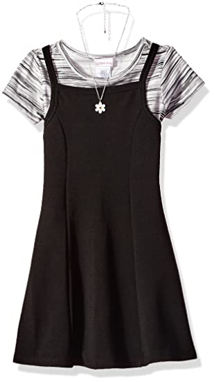 83cacbfba Youngland Girls' Little Knit Jumper Dress with T-Shirt and Necklace, Black/