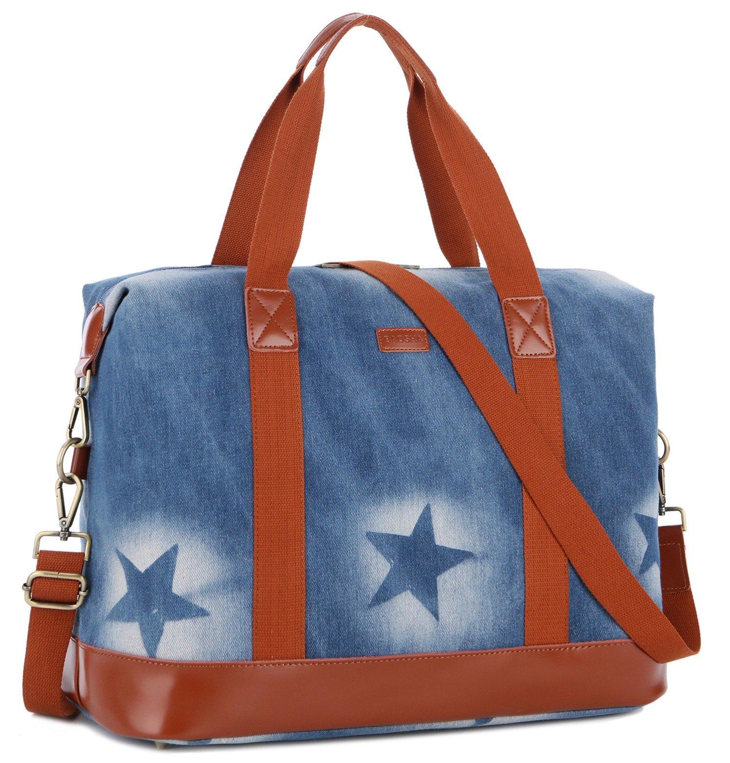 BAOSHA HB-28 Women Ladies Weekender Bag Overnight Carry-on Tote Duffel in Trolley Handle (Blue Star)