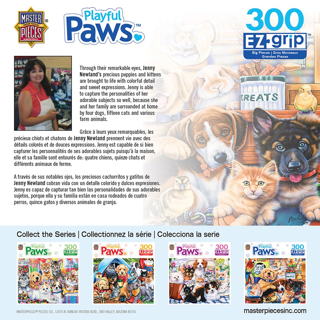 Amazon.com: MasterPieces Playful Paws Home Wanted - Dogs & Cats Large 300 Piece EZ Grip Jigsaw Puzzle by Jenny Newland: Toys & Games