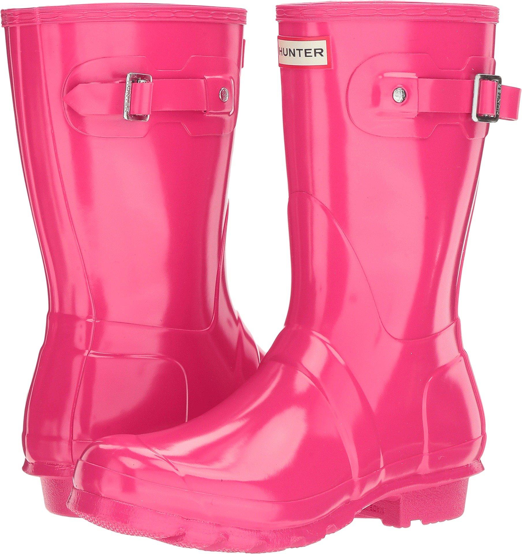 Hunter Women's Original Short Gloss Bright Pink Rain Boots - 8 B(M) US