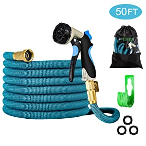 Garden Hose - Heavy-Duty, Flexible, Expandable, Retractable, Collapsible, Compact, Safe, Lightweight - No Tangle, Kink or Coil, Easy Storage - Best Waterhose for Gardening, Free Nozzle (50 FT)
